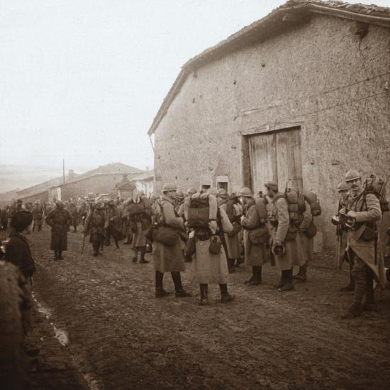 Troops with packs on backs, Somme, northern France, c1914-c1918-Unknown-Photographic Print