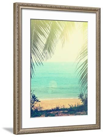 Tropical Background with Sea Beach and Palm Trees in the Vintage Style-natashamam-Framed Photographic Print
