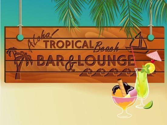 Tropical Beach Bar Wood Board Signpost, With Sandy Beach And Palm Tree Leaves In The Background-LanaN.-Art Print