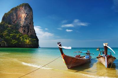 Tropical Beach, Traditional Long Tail Boats, Andaman Sea, Thailand-Dmitry Pichugin-Photographic Print