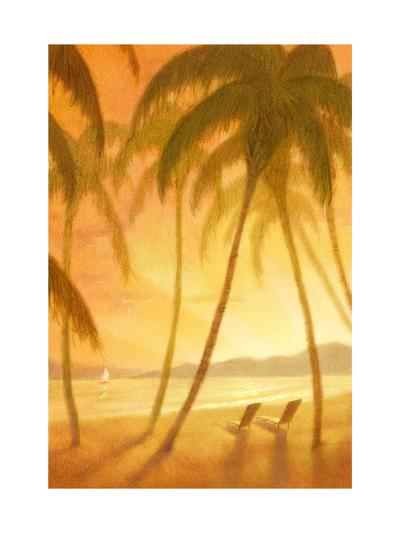 Tropical Beach with Palm Trees--Art Print