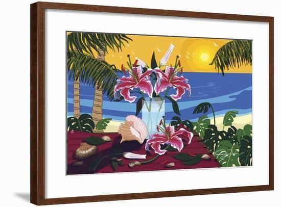 Tropical Bouquet With Sea Shells-Cindy Wider-Framed Giclee Print