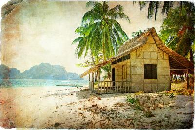 Tropical Bugalow -Retro Styled Picture-Maugli-l-Art Print