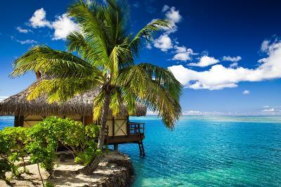 Tropical Bungalow and Palm Tree next to Amazing Blue Lagoon-Martin Valigursky-Photographic Print
