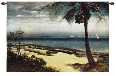 Tropical Coast-Albert Bierstadt-Wall Tapestry