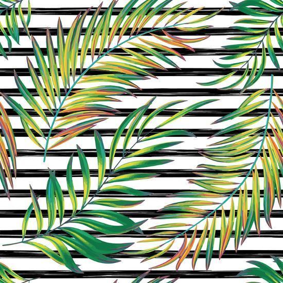 Tropical Exotic Palm Leaves On Striped Black White Background Art Print Andriy Lipkan Art Com Exotic tropical green palm leaves. tropical exotic palm leaves on striped black white background by andriy lipkan