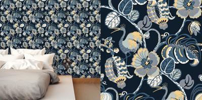 Tropical Fete Azure Blue Self-Adhesive Wallpaper