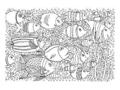 Tropical Fish Coloring Art--Coloring Poster