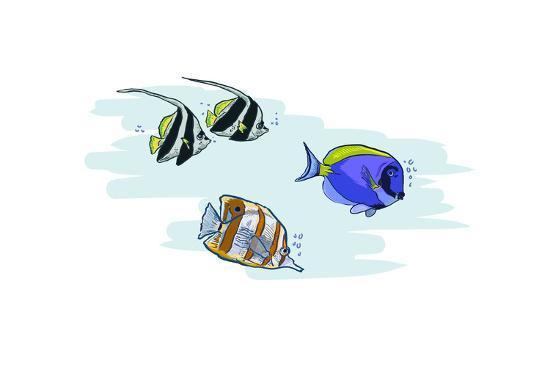 Tropical Fish - Icon-Lantern Press-Art Print