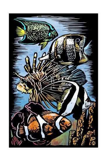 Tropical Fish - Scratchboard-Lantern Press-Art Print