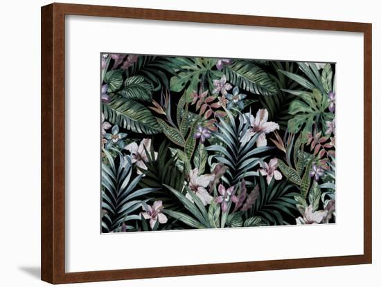 Tropical Floral Print. Variety of Jungle and Island Flowers in Bouquets in a Dark Exotic Print. All-rosapompelmo-Framed Art Print