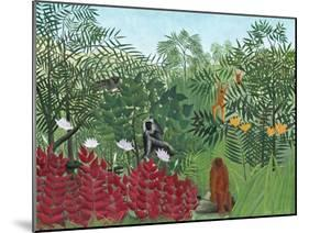 Tropical Forest with Monkeys, 1910-Henri Rousseau-Mounted Giclee Print