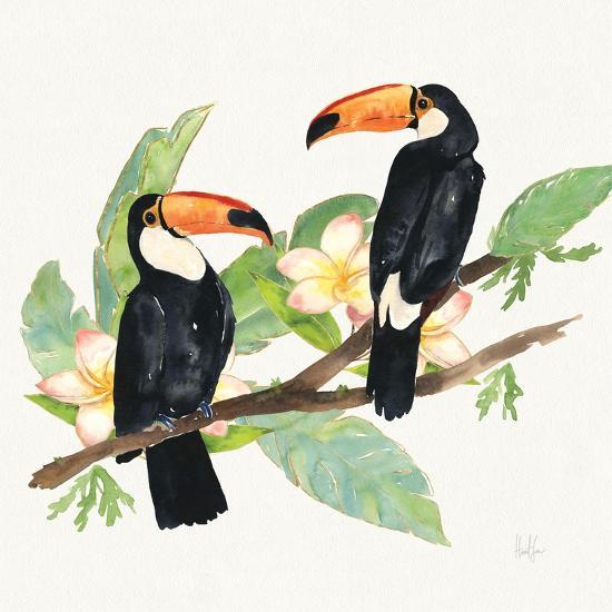 Tropical Fun Bird I Leaves-Harriet Sussman-Art Print
