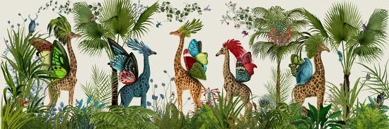 Tropical Giraffes, Bright-Fab Funky-Art Print