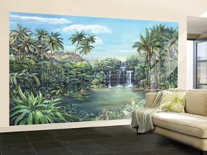 Tropical Lagoon With Palm Trees Huge Mural Art Print Poster