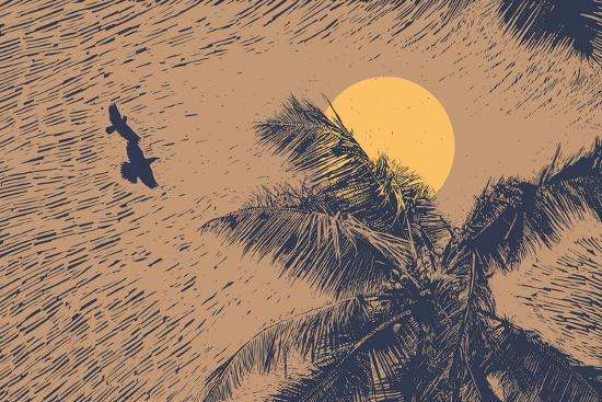 Tropical Landscape with Palms Trees, Two Birds and Sun. Linocut Style. Vector Illustration.-jumpingsack-Art Print