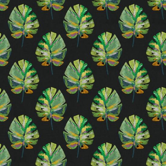 Tropical Leaves - Black-Linda Woods-Art Print