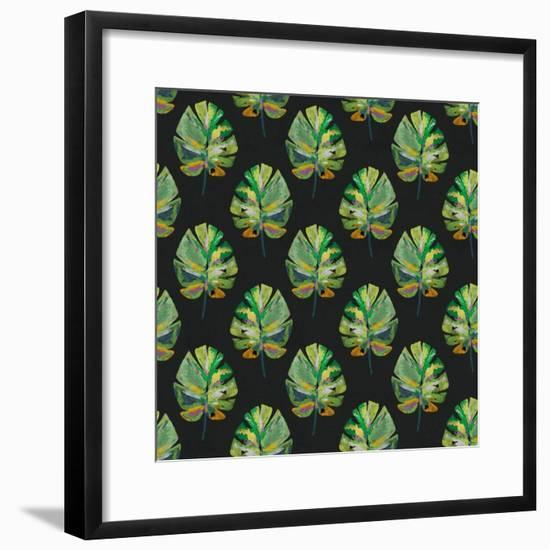 Tropical Leaves - Black-Linda Woods-Framed Art Print