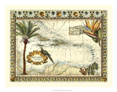 Tropical Map of West Indies-Vision Studio-Giclee Print