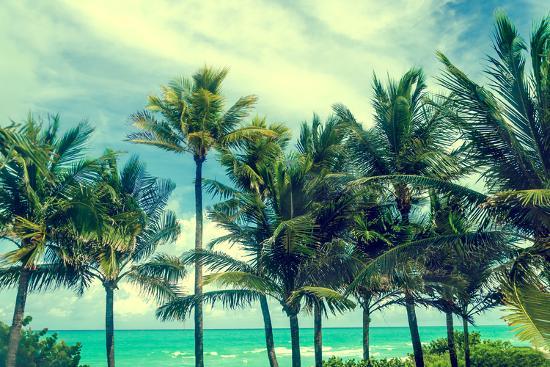 Tropical Palm Trees on the Miami Beach near the Ocean, Florida, Usa, Retro Styled-EllenSmile-Photographic Print