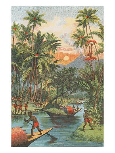 Tropical Paradise with Volcano--Art Print