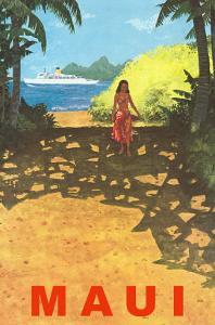 Tropical Path with Ocean Liner, Maui, Hawaii