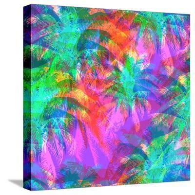 Tropical Pattern Depicting Pink and Purple Palm Trees with with Yellow Highlights Reflections on a-yulianas-Stretched Canvas Print