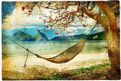Tropical Scene- Artwork In Painting Style-Maugli-l-Art Print