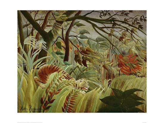Tropical Storm with Tiger-Henri Rousseau-Art Print