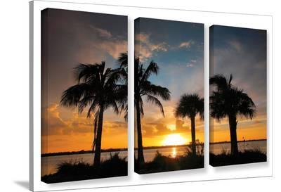 Tropical Sunset, 3 Piece Gallery-Wrapped Canvas Set-Steve Ainsworth-Gallery Wrapped Canvas Set