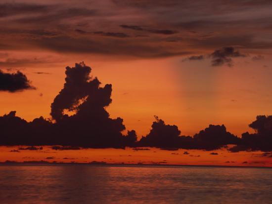 Tropical Sunset Off Seven Mile Beach, Cayman Islands, West Indies, Central America-Tomlinson Ruth-Photographic Print