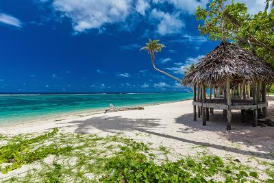 Tropical Vibrant Natural Beach on Samoa Island with Palm Tree and Fale-Martin Valigursky-Photographic Print