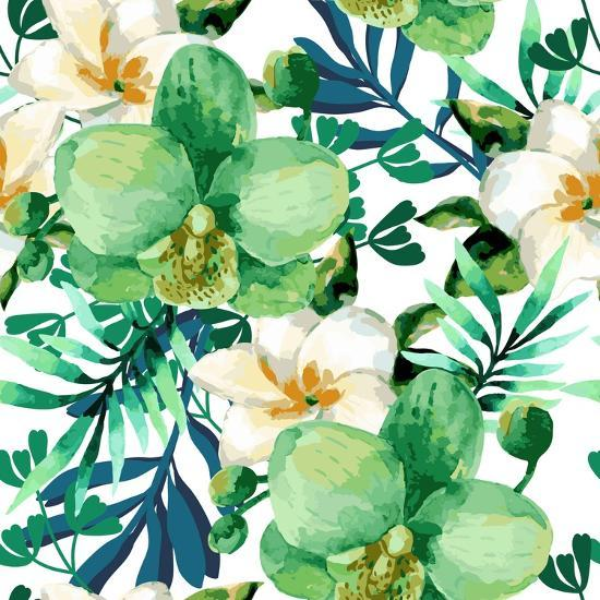 Tropical Watercolor Floral Seamless Pattern With Orchid Flowers Jungle Palm Leaves Background Art Print Ponomarchuk Olga Art Com Full frame image of beautiful palm leaves with red lighting. tropical watercolor floral seamless pattern with orchid flowers jungle palm leaves background by ponomarchuk olga