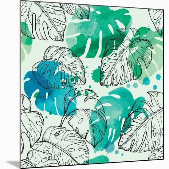 Tropical Watercolor Leaf Pattern-Mirifada-Mounted Premium Giclee Print