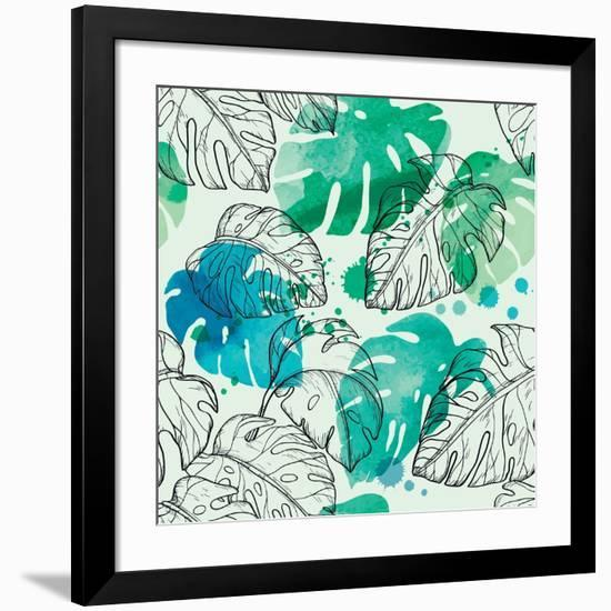 Tropical Watercolor Leaf Pattern-Mirifada-Framed Premium Giclee Print