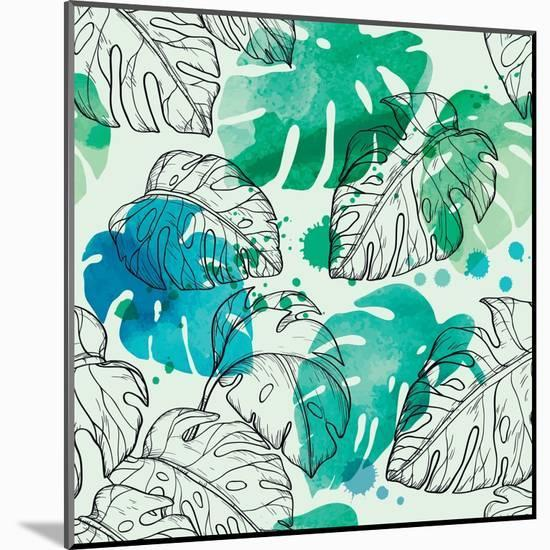Tropical Watercolor Leaf Pattern-Mirifada-Mounted Art Print