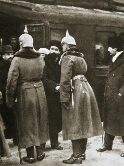 Trotsky and Russian delegates welcomed by German officers, Brest-Litovsk, Russia, 1917-Unknown-Photographic Print