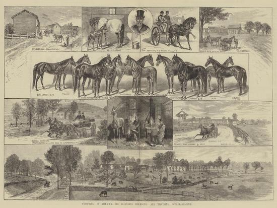 Trotting in America, Mr Bonner's Breeding and Training Establishment--Giclee Print