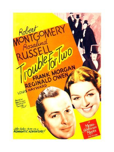 TROUBLE FOR TWO, US poster art, from left: Robert Montgomery, Rosalind Russell, 1936--Art Print
