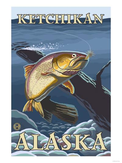 Trout Fishing Cross-Section, Ketchikan, Alaska-Lantern Press-Art Print