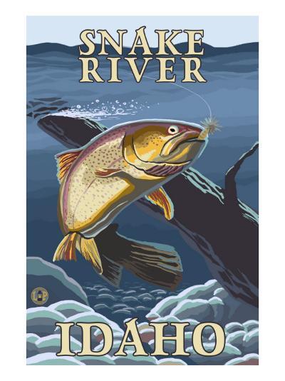 Trout Fishing Cross-Section, Snake River, Idaho-Lantern Press-Art Print