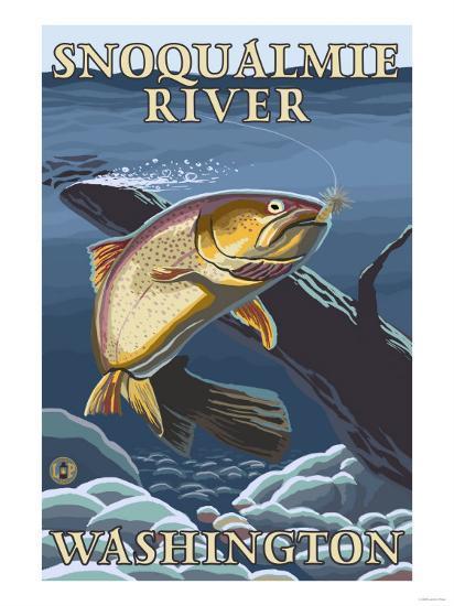 Trout Fishing Cross-Section, Snoqualmie River, Washington-Lantern Press-Art Print