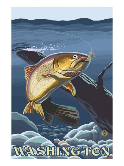 Trout Fishing Cross-Section, Washington-Lantern Press-Art Print