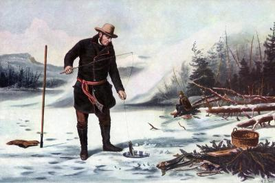 Trout Fishing on Chateaugay Lake, American Winter Sports, 1856-Arthur Fitzwilliam Tait-Giclee Print