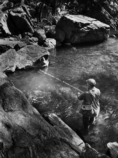 Trout Fishing-A. Aubrey Bodine-Photographic Print