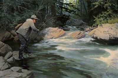 Trout on the Hook of a Fisherman in the north Woods, Circa 1900