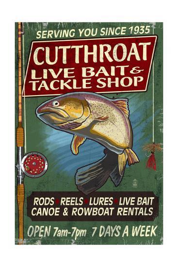Trout Tackle - Vintage Sign-Lantern Press-Art Print