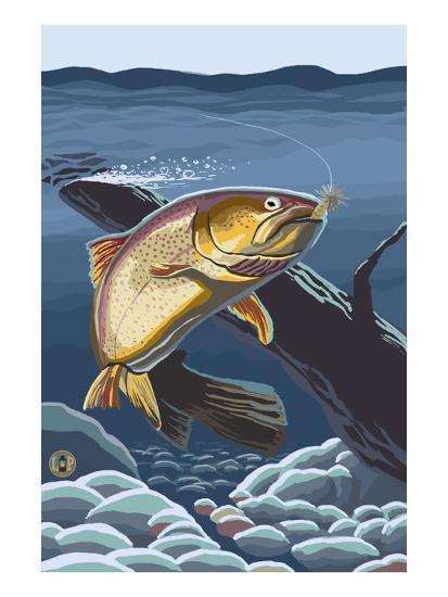Trout Underwater-Lantern Press-Art Print