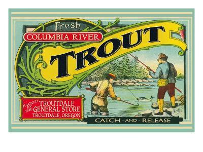 Troutdale, Oregon Trout Label-Lantern Press-Art Print