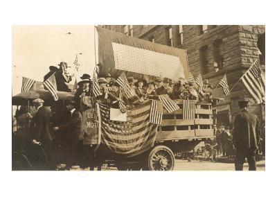 Truck in Parade with Flags--Art Print